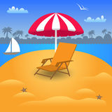 在海滩海滨的暑假 也corel凹道例证向量 免版税图库摄影