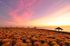 在海滩海洋蜂蜜的日落紫色天空宽虚度 图库摄影