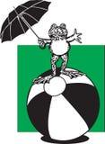 在海滩球的青蛙 免版税库存图片