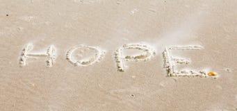 在海滩的一则消息 图库摄影