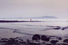 在海滩的一对夫妇 免版税库存图片