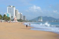 在海滩的一朵强的海浪芽庄市 越南 图库摄影
