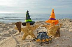 在海滩的万圣夜海星 免版税库存图片