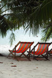 在海滩的两张海滩睡椅在棕榈树下 免版税库存图片