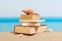 在海滩的书 免版税图库摄影