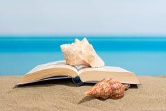 在海滩的书 免版税库存图片