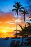 在海洋的五颜六色的日出在蓬塔Cana, 01 05 2017年 库存照片