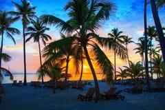 在海洋的五颜六色的日出在蓬塔Cana, 01 05 2017年 免版税库存图片