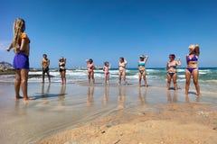 在海滩的健身 免版税库存照片