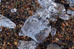 在海滩的冰片断 库存照片