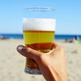 在海滩的刷新的啤酒 免版税库存照片