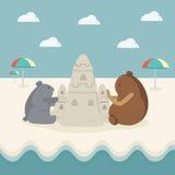 在海滩的动画片形象 图库摄影