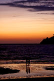 在海滩的反射在阳光下 库存图片