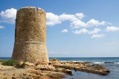 在海滩的古老塔 免版税图库摄影