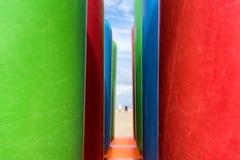在海滩的可膨胀的结构 库存图片