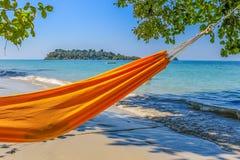 在海滩的吊床 图库摄影