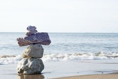 在海滩的和平 图库摄影