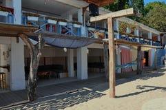 在海滩的咖啡馆酒吧 图库摄影