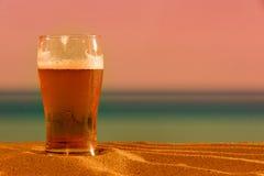 在海滩的啤酒 免版税库存图片