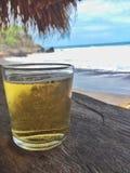 在海滩的啤酒 库存图片