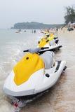 在海滩的喷气机滑雪 免版税库存照片