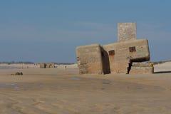 在海滩的地堡 免版税图库摄影