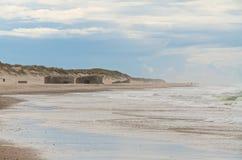 在海滩的地堡 图库摄影