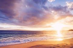 在海滩的夏威夷日落 免版税图库摄影