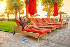 在海滩的太阳假日波斯湾 免版税库存图片
