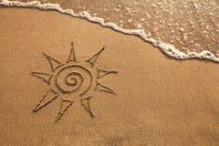 在海滩的太阳 库存照片