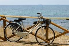 在海滨的夫人减速火箭的城市自行车 免版税库存照片