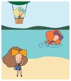 在海滩的女孩活动 免版税库存图片
