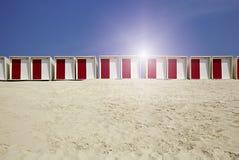 在海滩的客舱在沙子 库存照片
