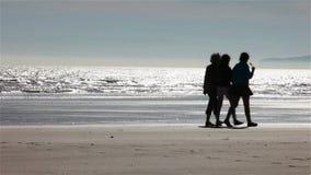在海滩的家庭剪影 股票录像