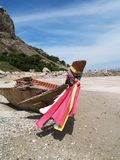 在海滩02的小船 库存照片