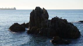 在海滩的岩石在比尼亚德尔马智利 免版税库存照片