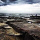 在海滩的岩石 免版税图库摄影