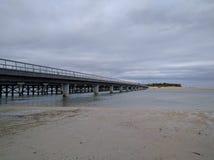 在海滩的庄严桥梁 免版税库存照片