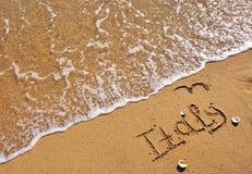 在海滩的意大利标志 库存图片