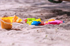 在海滩的戏剧玩具 库存图片