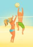 在海滩的排球 向量例证