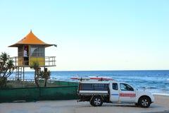 在海滩的救生员驻地 库存照片