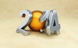 在海滩的新年好2014年 免版税库存照片