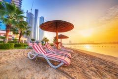 在海滩的日出在Perian海湾 库存图片