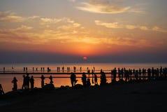 在海滩8的日出 免版税库存图片