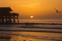 在海洋的日出 图库摄影