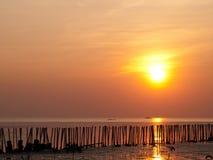 在海洋的日落光 库存照片