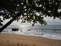 在海滩的日落在太平洋 库存图片