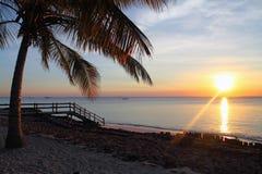 在海滩的日落在桑给巴尔 免版税库存照片