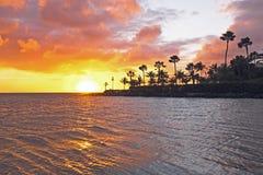 在海滩的日落在阿鲁巴 免版税库存图片